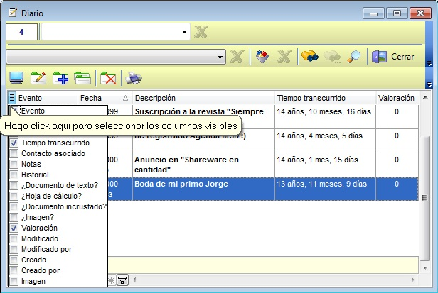 Agenda MSD 11.7 presentación del campo Valoración