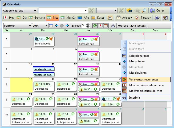 Agenda MSD 11.7 ver eventos recurrentes