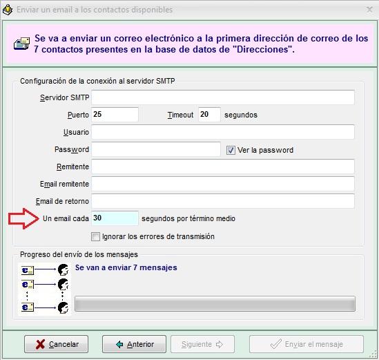 Agenda MSD 12.1 Diálogo de Envío de Correos Electrónicos