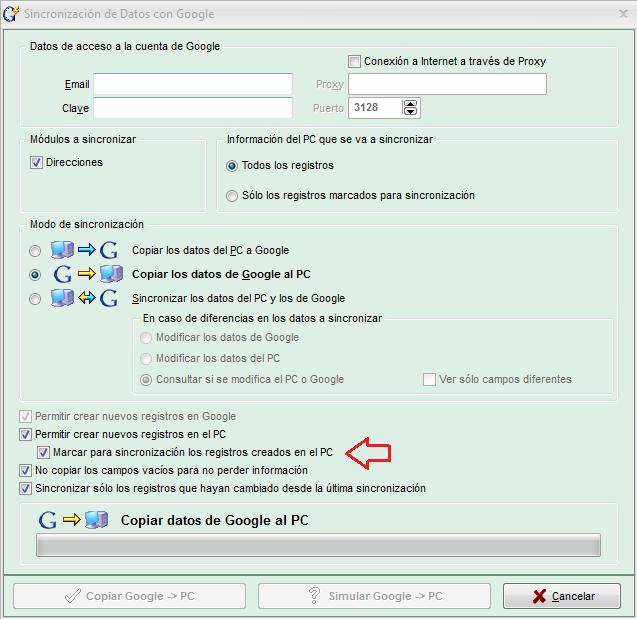 Agenda MSD 12.1 Marcar registros para sincronización con Google Contacts