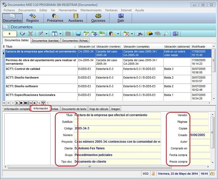 Documentos MSD 3.10 - Etiquetas de la ventana de información