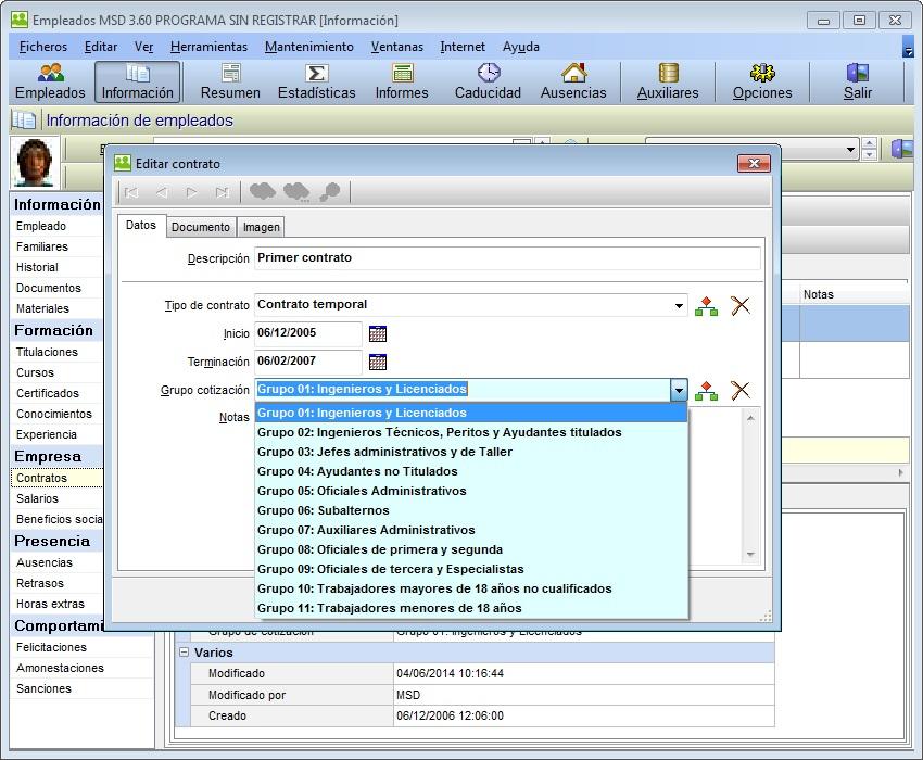 Empleados MSD 3.60 editar contrato con grupos de cotizacion