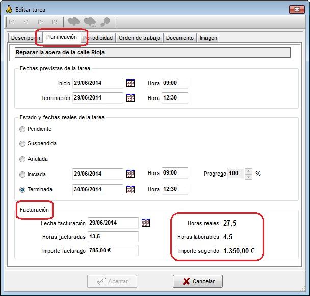 Tareas MSD 6.00 editar tareas, facturación