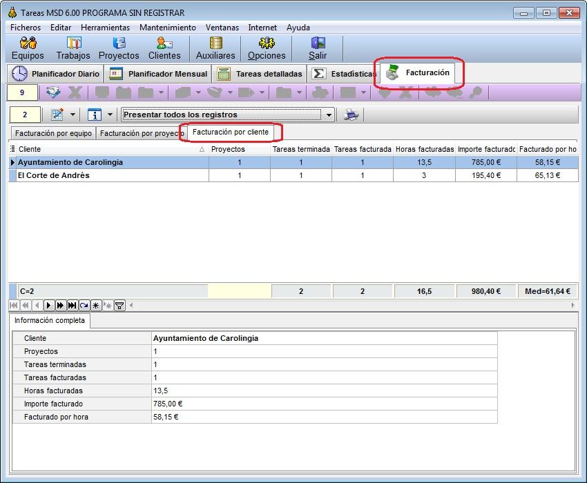 Tareas MSD 6.00 facturación por cliente