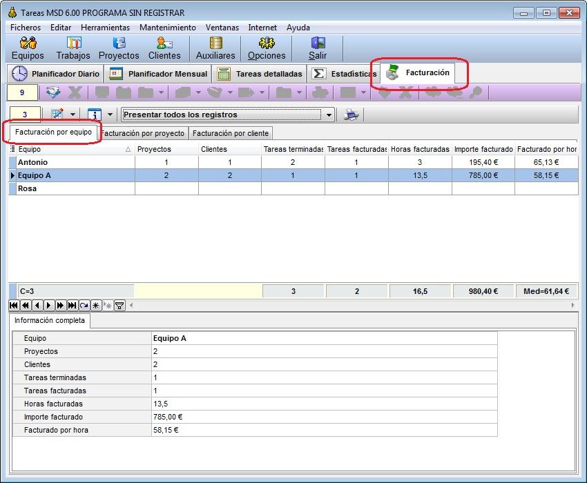 Tareas MSD 6.00 facturación por equipo