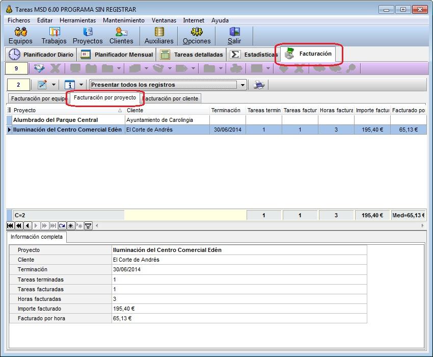 Tareas MSD 6.00 facturación por proyecto