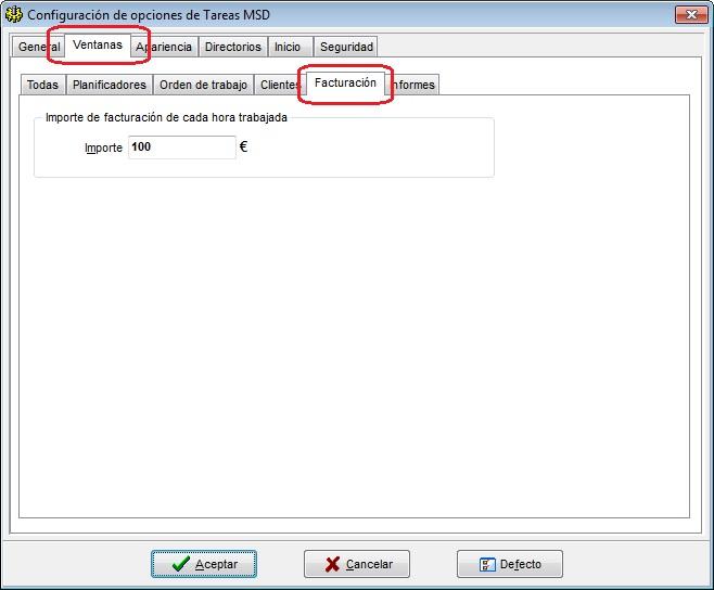 Tareas MSD 6.00 opciones de facturación