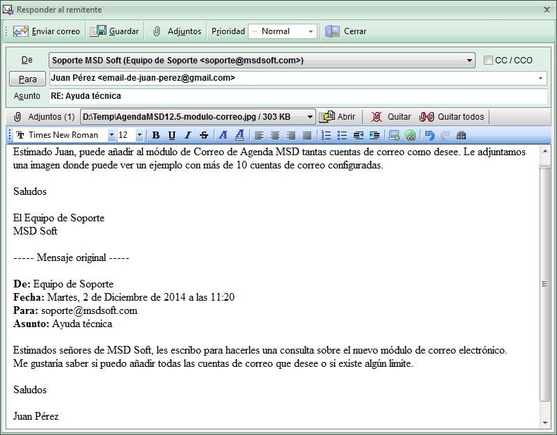 AgendaMSD12.5: editar Correo Electrónico
