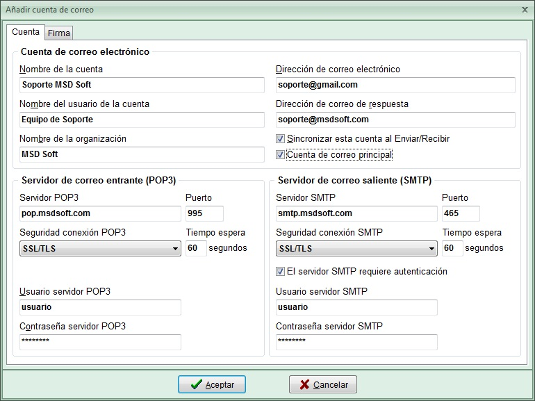 AgendaMSD12.5: editar cuenta de correo