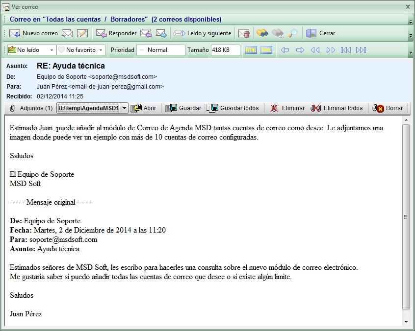 AgendaMSD12.5: ver Correo Electrónico