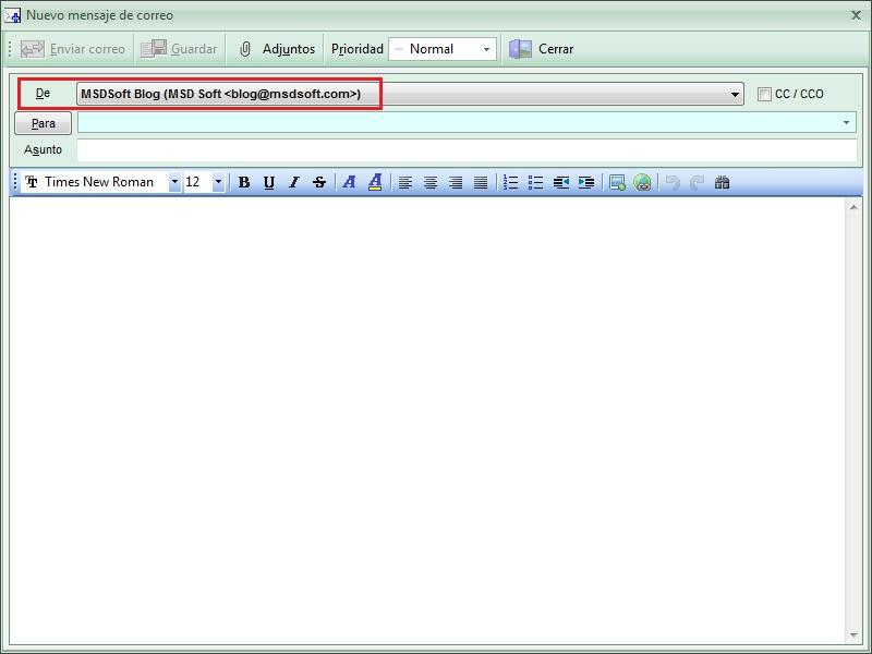 AgendaMSD 12.6 crear correo de una cuenta determinada