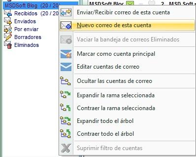 AgendaMSD 12.6 nuevo correo de una cuenta determinada