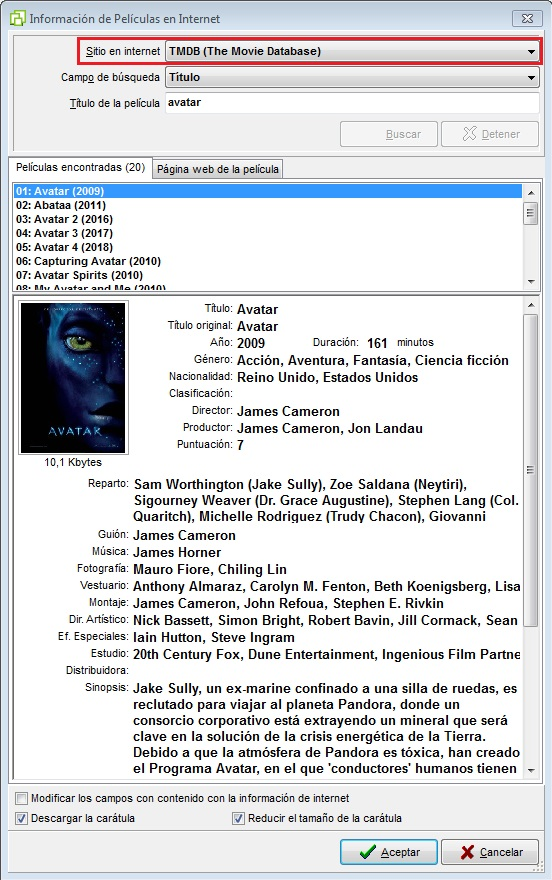 Buscar Película en The Movie Database - Colecciones MSD 3.20