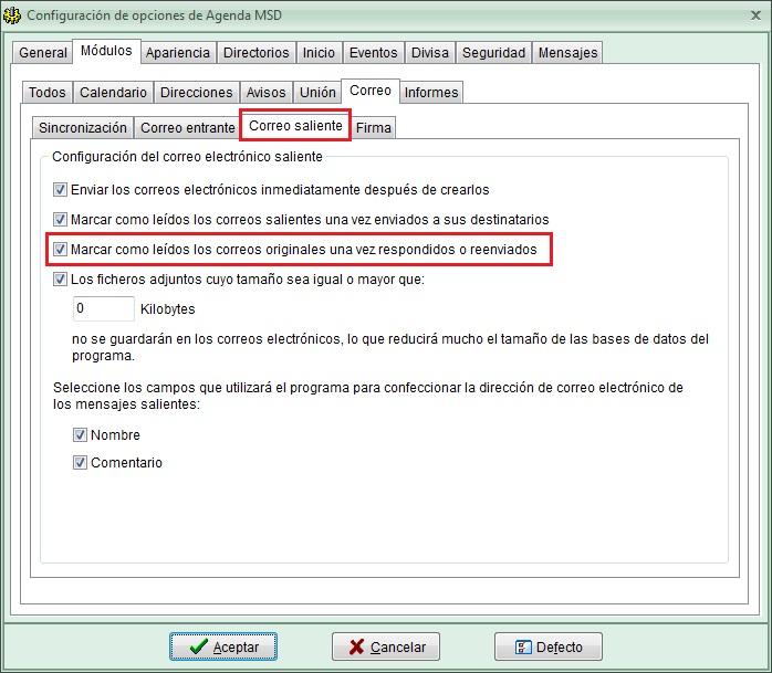 AgendaMSD 12.8 opciones corrreos marcados leidos