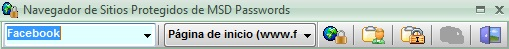 Navegador MSD Passwords con botones sin texto