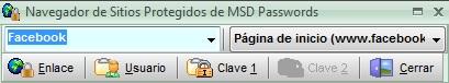 Navegador MSD Passwords con botones en dos filas