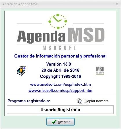 Nueva versión Agenda MSD 13.0