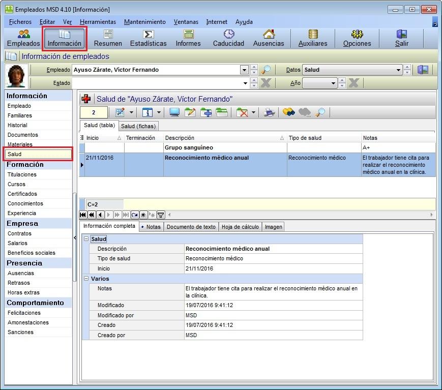 Empleados MSD 4.10 - Nueva base de datos de Salud