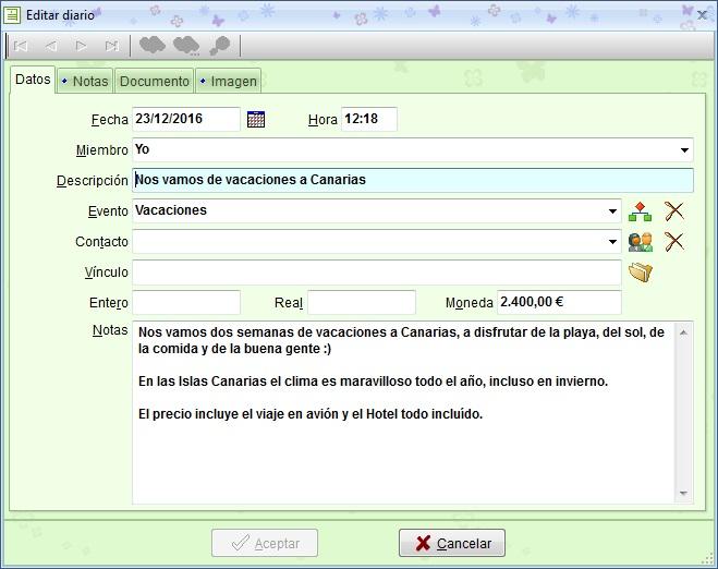 MSD TopDiary 1.00 edición de registros del módulo Diario