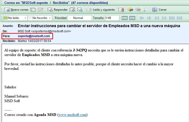 Agenda MSD 13.2 Cuenta de correo destinataria