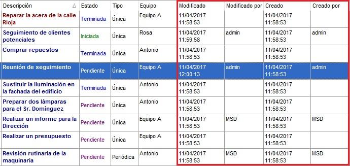 Tareas MSD 6.50 fecha de creación y modificación de datos