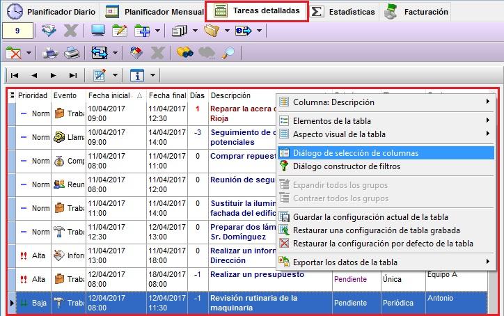 Tareas MSD 6.50 nueva tabla de datos en Tareas Detalladas