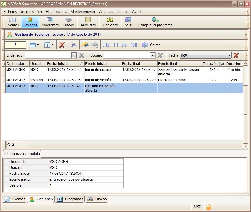 MSDSoft Supervisor 1.00 módulo Sesiones