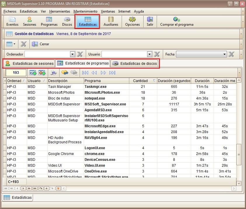 MSDSoft Supervisor 1.10 módulo Estadísticas