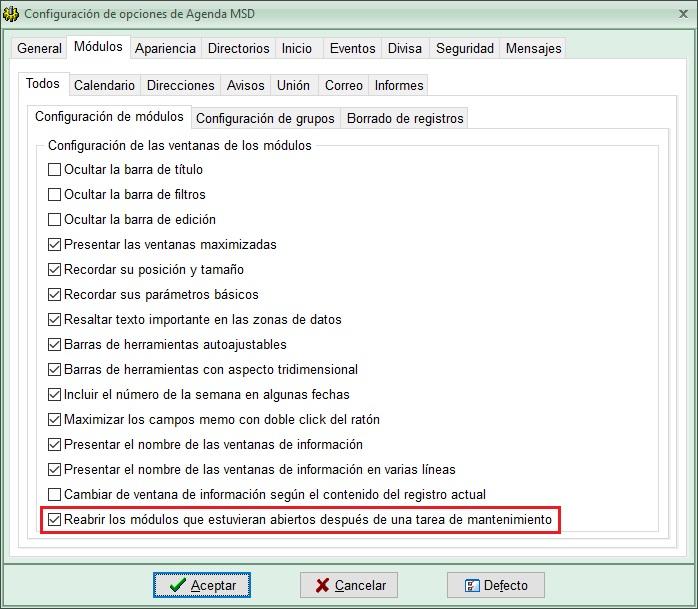 Agenda MSD 13.4 - opción reabrir módulos