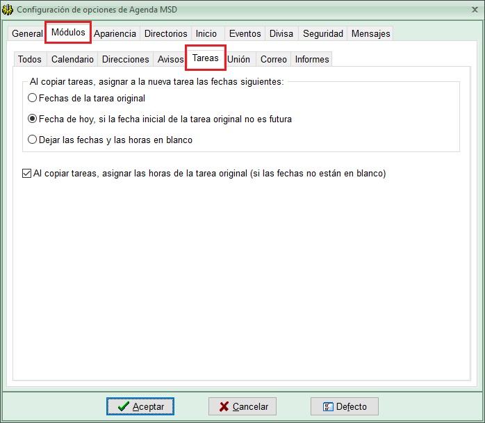 Agenda MSD 13.5 - opciones copia de tareas