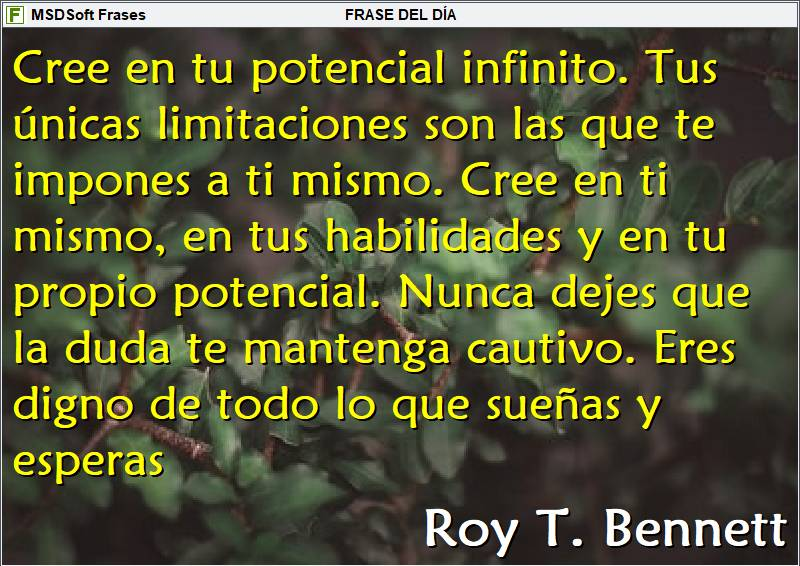 MSDSoft Frases - Roy T. Bennett - Cree en tu potencial infinito