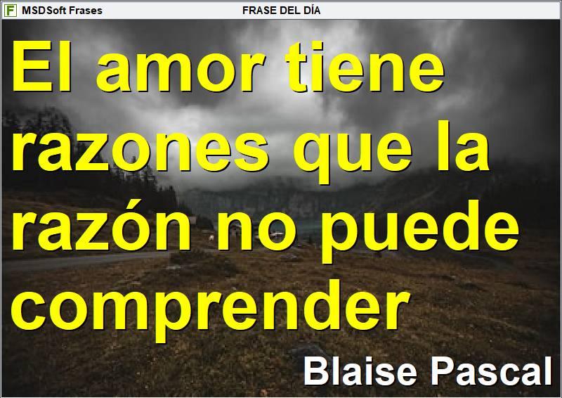 MSDSoft Frases - Frases inspiradoras - Blaise Pascal - El amor tiene razones que la razón no puede comprender