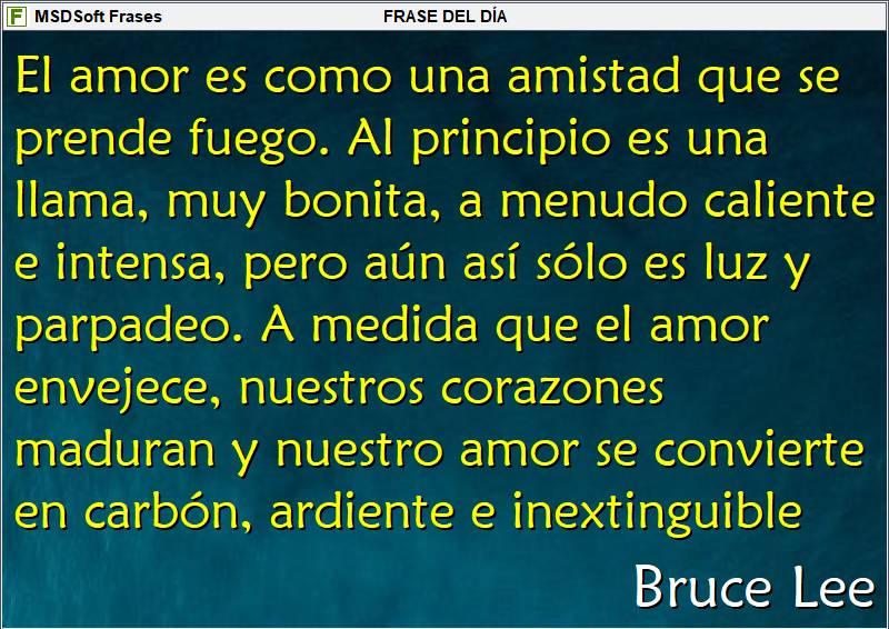 Frases inspiradoras - MSDSoft Frases - Bruce Lee - El amor es como una amistad que se prende fuego