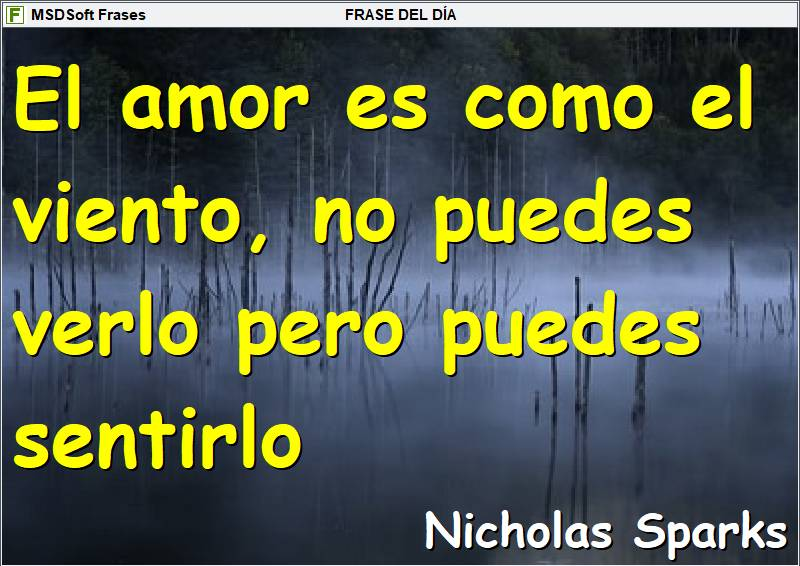 Frases inspiradoras - MSDSoft Frases - Nicholas Sparks - El amor es como el viento