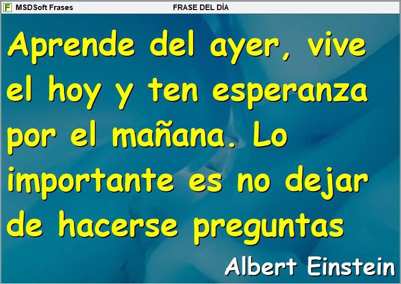 Frases inspiradoras - MSDSoft Frases - Albert Einstein - Aprende del ayer, vive el hoy y ten esperanza por el mañana